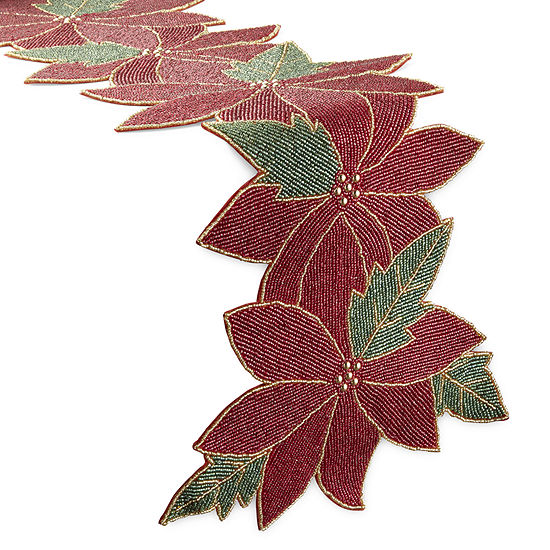 North Pole Trading Co. Beaded Poinsettia Table Runner