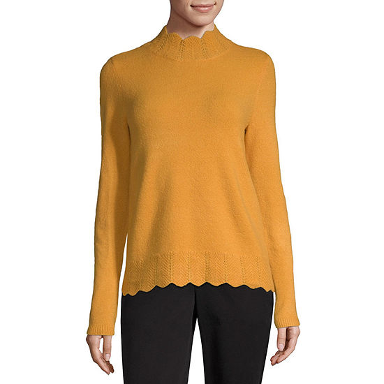 Liz Claiborne Womens Mock Neck Long Sleeve Pullover Sweater
