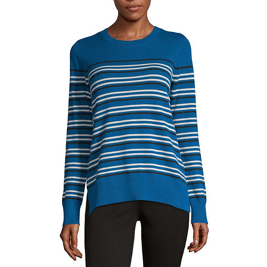 Liz Claiborne Womens Crew Neck Long Sleeve Striped Pullover Sweater