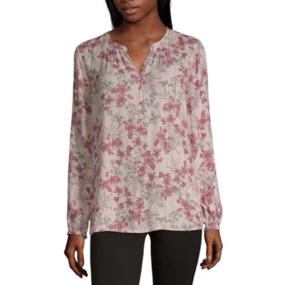 Liz Claiborne Womens Split Crew Neck Long Sleeve Blouse