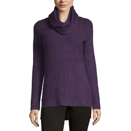 Liz Claiborne V-Neck Sweater With Infinity Scarf, Petite Small , Purple