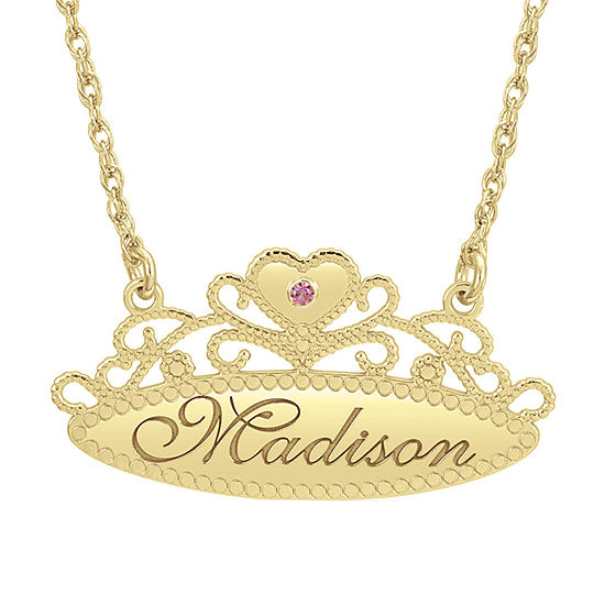 Personalized Womens Simulated Multi Color Stone 24K Gold Over Silver Crown Pendant Necklace