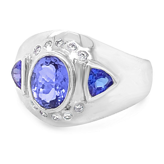 LIMITED QUANTITIES! Le Vian Grand Sample Sale™ Ring featuring Blueberry Tanzanite® set in 18K Vanilla Gold®