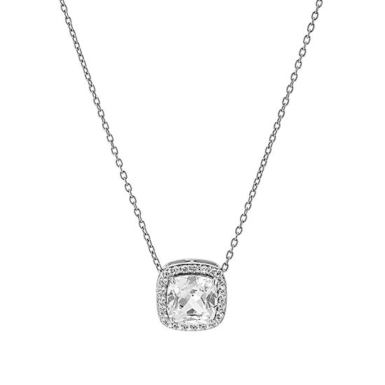 """241 """"Wear It Both Ways"""" Womens Lab Created White Sapphire Sterling Silver Pendant Necklace"""
