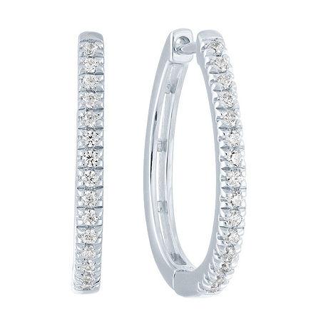 1/4 CT. T.W. Genuine Diamond Sterling Silver 19.7mm Hoop Earrings, One Size