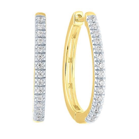 1/4 CT. T.W. Genuine Diamond 14K Gold Over Silver 19.7mm Hoop Earrings