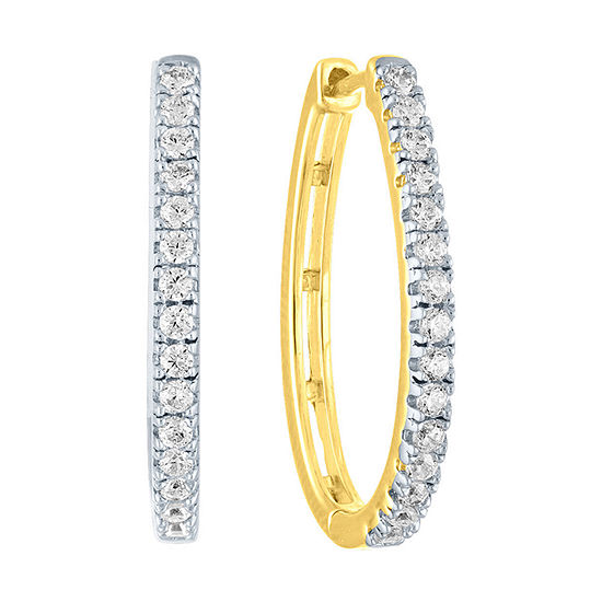 1/2 CT. T.W. Genuine Diamond 14K Gold Over Silver 21.8mm Hoop Earrings