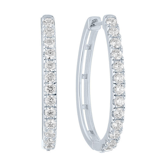 1 CT. T.W. Genuine Diamond Sterling Silver 25.7mm Hoop Earrings