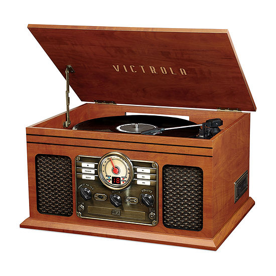 Victrola VTA-204B-MAH 7-in-1 Nostalgic Bluetooth Record Player with 3-Speed Turntable