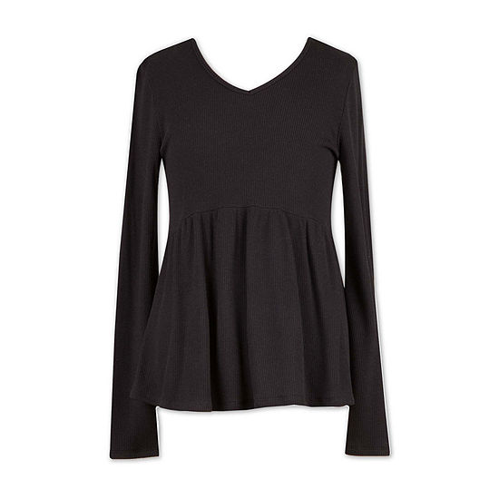 Speechless Big Girls V Neck Long Sleeve Blouse