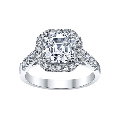 DiamonArt® Asscher-Cut Cubic Zirconia Sterling Silver Ring