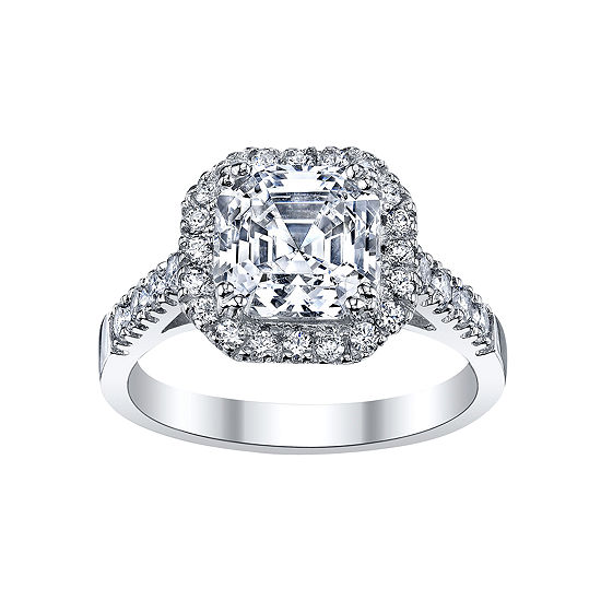 Diamonart Asscher Cut Cubic Zirconia Sterling Silver Ring