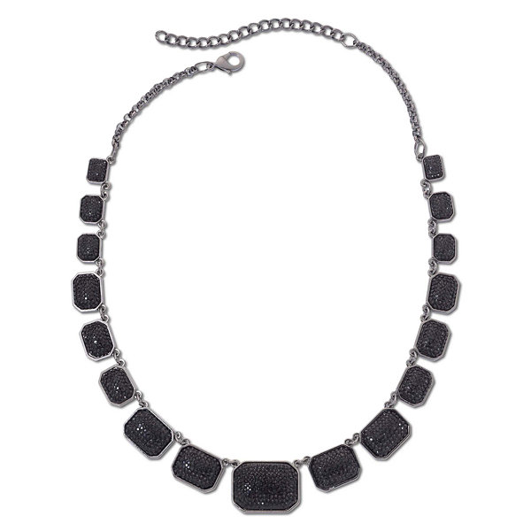 Mixit™ Hematite & Jet Black Square Collar Necklace