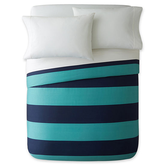 Jcpenney Home 300tc Blue Rugby Stripe Duvet Cover