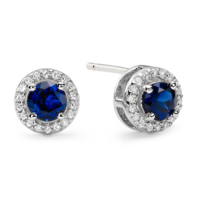 1/10 CT. T.W. Diamond & Genuine Sapphire Stud Earrings