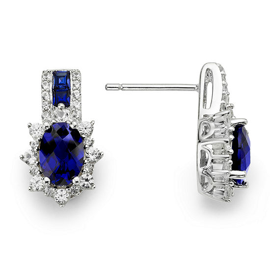 a0a6b2340 Sterling Silver Lab Created Blue & White Sapphire Earrings