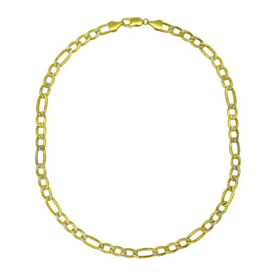 "10K Yellow Gold 8½"" Pavé Hollow Figaro Chain Bracelet"