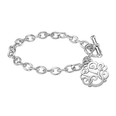 Personalized Sterling Silver 20mm Monogram Script Charm Bracelet