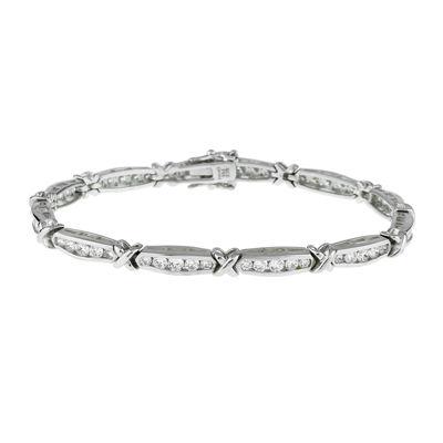 DiamonArt® Cubic Zirconia Sterling Silver X Link Bracelet