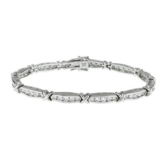 Diamonart Cubic Zirconia Sterling Silver X Link Bracelet