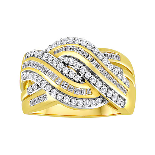 3/4 CT. T.W. Diamond 14K Gold Over Sterling Silver Swirl Ring