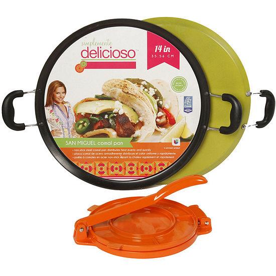 """Simplemente Delicioso San Miguel 14"""" Comal Pan with Tortilla Press"""