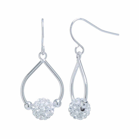 Sparkle Allure Pure Silver Over Brass Clear Crystal Ball Drop Earrings