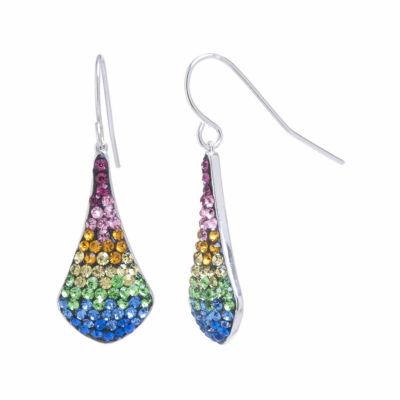 Sparkle Allure Silver Over Brass Rainbow Crystal Teardrop Earrings