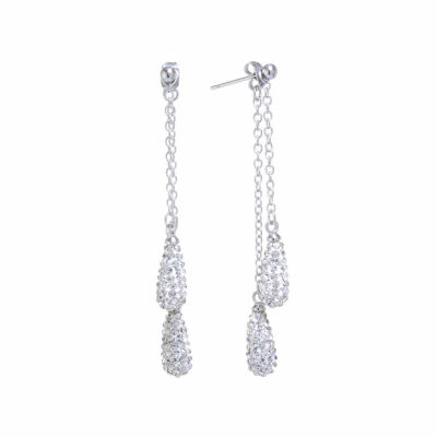 Sparkle Allure Crystal Double Teardrop Chain Pear Drop Earrings