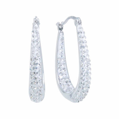 Sparkle Allure Silver Over Brass Clear Crystal Hoop Earrings