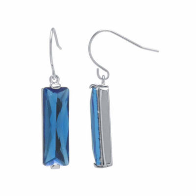 Sparkle Allure Blue Crystal Rectangle Drop Earrings