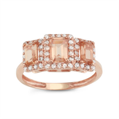 Simulated Morganite Quartz And 1/3C.T. T.W. Diamond 10K Rose Gold Ring