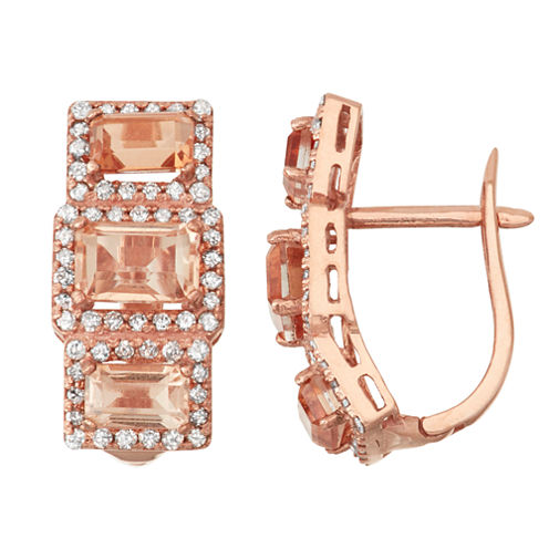 Simulated Morganite Quartz And 5/8  C.T. T.W. Diamond 10K Rose Gold Earrings