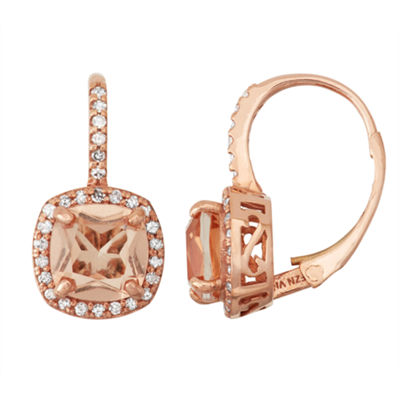 Simulated Morganite Quartz And 1/4  C.T. T.W. Diamond 10K Rose Gold Earrings