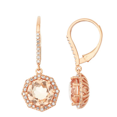 Simulated Morganite And 1/3  C.T. T.W. Diamond 10K Rose Gold Earrings