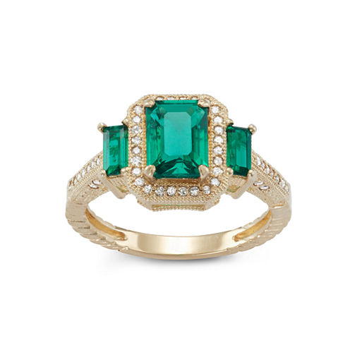 Lab Created Emerald And 1/4C.T. T.W.Diamond 10K Yellow Gold Ring