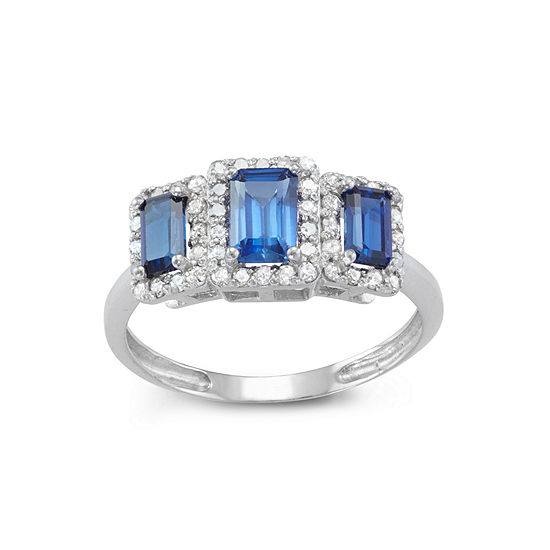 Womens 1 3 Ct Tw Lab Created Blue Sapphire 10k Gold Cocktail Ring