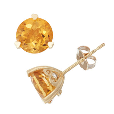 Lab Created White Sapphire And Diamond Accent 10K Yellow Gold Earrings