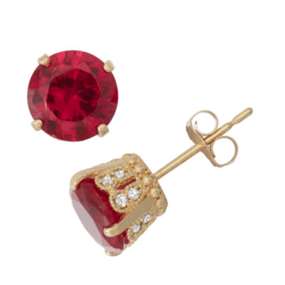 Lab Created Ruby And 1/6 C.T. T.W.  Diamond 10K Yellow Gold Earrings