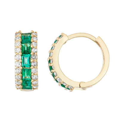 Lab Created Emerald And 1/2 C.T. T.W.  Diamond 10K Yellow Gold Earrings