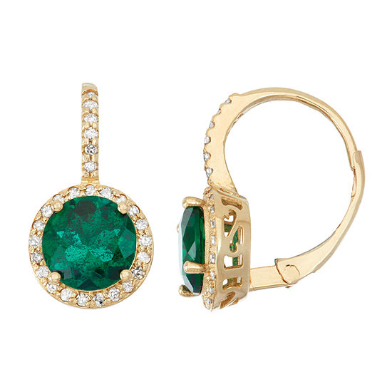 Lab Created Emerald And 1/4C.T. T.W.Diamond 10K Yellow Gold Earrings