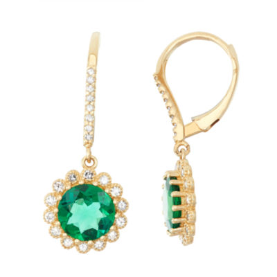 Lab Created Emerald And 1/3 C.T. T.W. Diamond 10K Yellow Gold Earrings