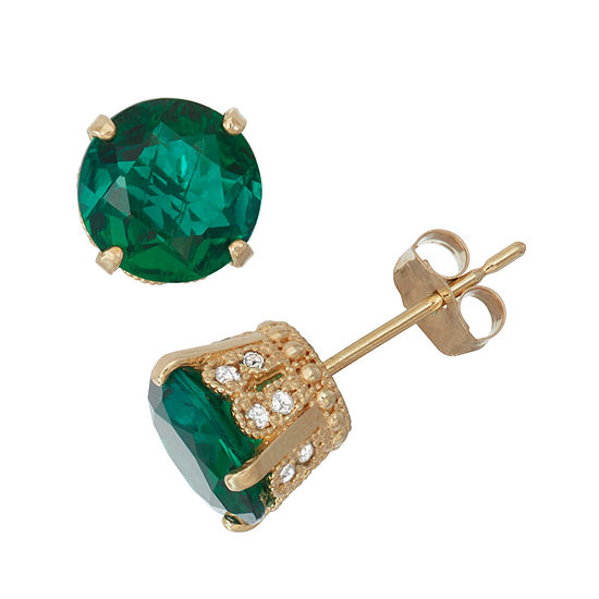 Lab Created Emerald And 1/6 Cttw H-i Diamond 10k Yellow Gold Earrings