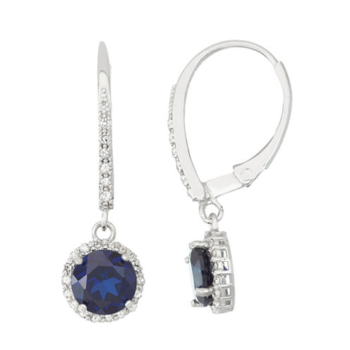 Lab Created Sapphire And 1/4C.T. T.W.Diamond 10K White Gold Earrings
