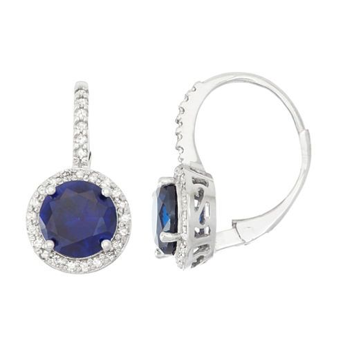 Lab Created Sapphire And 1/4 C.T. T.W. Diamond 10K White Gold Earrings