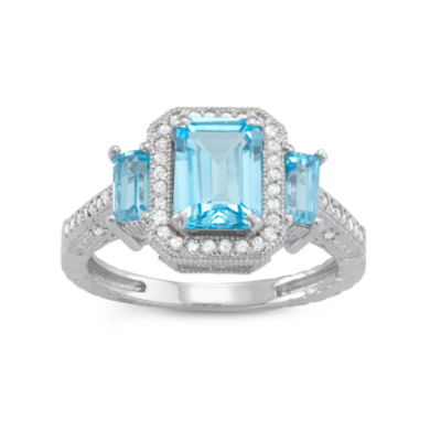 Genuine Swiss Blue Topaz And 1/4  C.T. T.W. Diamond 10K White Gold Ring
