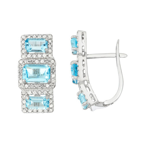 Genuine Swiss Blue Topaz And 5/8  C.T. T.W. Diamond 10K White Gold Earrings