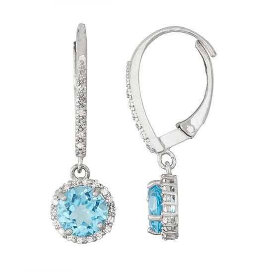 Genuine Swiss Blue Topaz And 1 4 Ct Twdiamond 10k White Gold Earrings