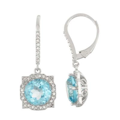 Genuine Swiss Blue Topaz And 1/3 C.T. T.W.Diamond 10K White Gold Earrings