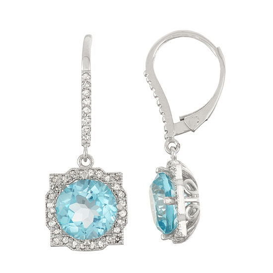 Genuine Swiss Blue Topaz And 1/3  C.T. T.W. Diamond 10K White Gold Earrings